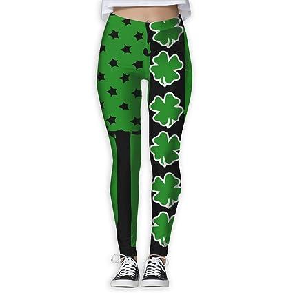 a59ed886791dc St Patrick's Day Irish Usa Flag Women's Stretchable Sports Running Yoga  Workout Leggings Pants S