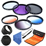 K&F Concept 58mm 6pcs Lens Filter Kit Slim UV + Slim CPL Circular Polarizing + Slim FLD + Slim Graduated Color Blue Orange Neutral Density ND4 Lens Filter Set