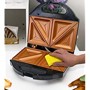 Gotham Steel Sandwich Maker, Toaster and Electric Panini Grill with Ultra Nonstick Copper Surface – Makes 2 Sandwiches…