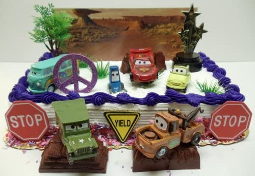 Swell Cars 14 Piece Birthday Cake Topper Set Featuring Tow Mater Sarge Funny Birthday Cards Online Benoljebrpdamsfinfo
