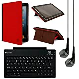 VanGoddy Mary Standing Portfolio Case for Vulcan Omega 8.95 inch Tablet with Bluetooth Keybard & Headphones (Black/Red)