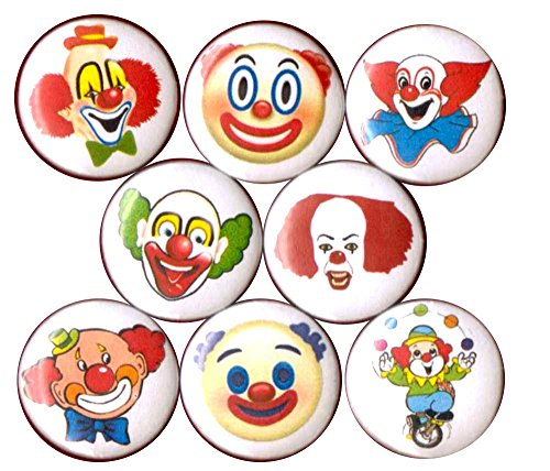CLOWNS 8 NEW button pin badge faces creepy make up circus car love emoji