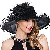 Women Kentucky Derby Church Dress Fascinator Wide Brim Tea Party Wedding Organza Hats S042b (S042-Black)