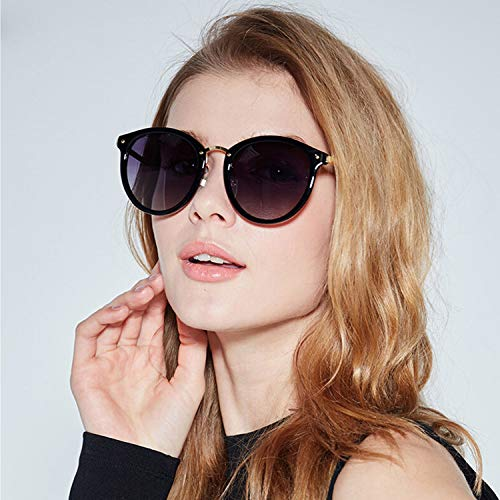 Voyage Shopping la Mode CJJC polarisées Noir Ronde Femmes de UV Lunettes Utilisation Conduite Lunettes pour Anti Soleil des Vintage ZZ4qa