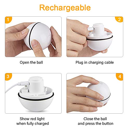 Unibelin Interactive Cat Toy Ball-Smart Pet Toy Self Rotation Rolling Ball USB Rechargeable Built-in LED Light for Cat Kitty Exercise Chase Play 9