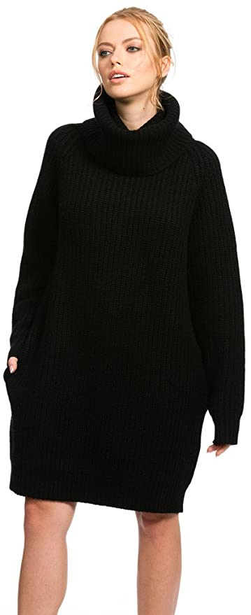 Citizen Cashmere Cowl Neck Sweater Dresses | Pullover Loose Sweater Dress Women w/ Pocket