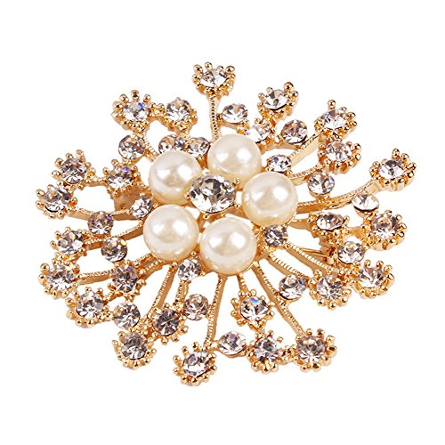 Crystal Bouquet Jewelry - Women Jewelry Brooch Pin Bright Clear Crystal Flower Snowflake Pearl Pins for Wedding Bridal Bouquet Party Dress of Premium Quality (Gold)