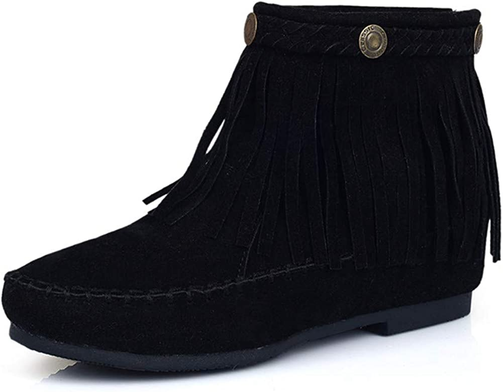 100FIXEO Women Faux Suede Moccasin Fringe Boots