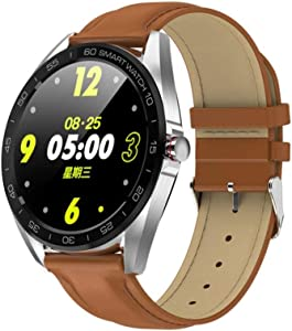 MHOL Fitness Tracker, 1.3-Inch IPS Color Screen Smartwatch IP68 Waterproof, Leather Strap for Android and iPhone