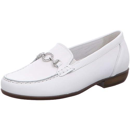 Waldläufer - Mocasines de Cuero para Mujer Blanco Blanco 41 1/3 EU, Color Blanco, Talla 37 EU: Amazon.es: Zapatos y complementos