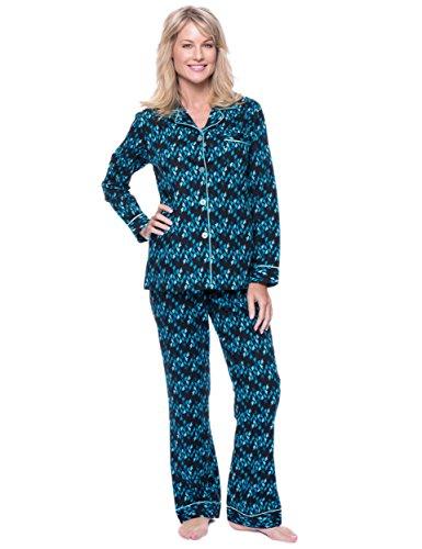 Womens 100% Cotton Poplin Pajama Set - Hearts on Fire - B...