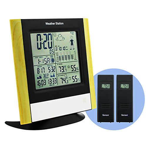 DCF77 RCC Wireless 2 sensor Weather Station Monitor with 5 State Weather Forecast Air pressure Trend Indicator Barometric pressure Sunrise/Sunset Moonrise/Moonset Indicator Freezing alert Function (Weather Weather Station Trend)