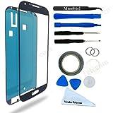 Schermo tattile di ricambio per Samsung Galaxy S4 i9500 i9505 Series NERO Incluso kit con 12 attrezzi sticker pretagliato / pinzetta rullo di nastro adesivo da 2 mm panno pulizia ventosa cavo metallico MMOBIEL