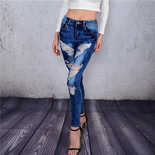 Scothen Pantalones vaqueros de mezclilla azul estiramiento de las mujeres de los pantalones flacos en dificultades skinny jeans de cintura alta pantalones vaqueros rasgados pantalones Blue