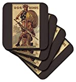 3dRose Vintage USA Bonds Third Liberty Loan Campaign Boy Scouts of America - Soft Coasters, Set of 8 (cst_149392_2)