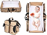 Baby Cot and Change Table Packages 3 in 1 Travel Bassinet Diaper Bag ,Portable Change Station ,Travel Crib ,Stroller Handles , Mulitfunctional Portable Carry Cot ,A Lounge to go, Tote Bag,Infant Carrycot (Color: Beige)