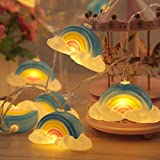 Cloud Shape Night Lights - 1.65Meter Rainbow Clouds Pendant Light Battery Box Bedroom Romantic Decoration for Living Room,Christmas,Party,Girls Bedroom,Birthday Gift (A)