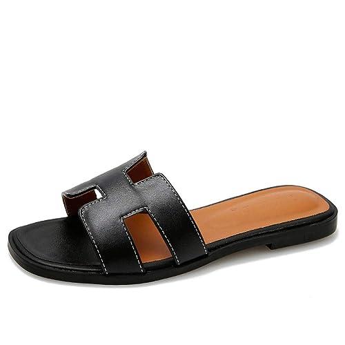 Womens T-Strap Sandals Slip-on Comfort Casual Flats Shoes Flip Flops Size 6-9
