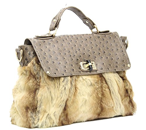 Ladies LYDC London Designer Faux Fur Ostrich Satchel Office Shoulder Handbag (Taupe)