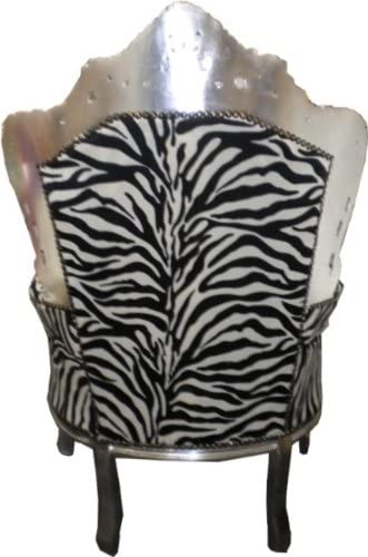 Casa Padrino Barock Sessel King Zebra//Silber
