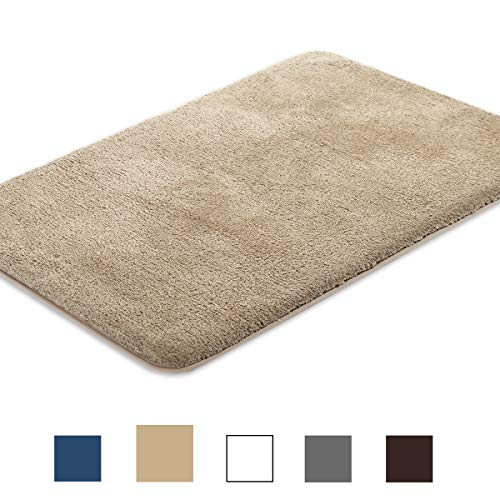(ITSOFT Non-Slip Water Absorbent Densely Woven Shaggy Microfibers Bathroom Mat, Machine Washable, 20 x 31 Inch Beige)