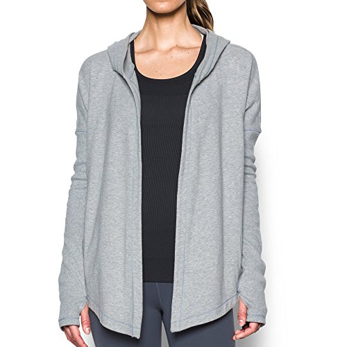 Under Armour Women's Modern Terry Open Front Cardigan, True Gray Heather/Elemental, Large