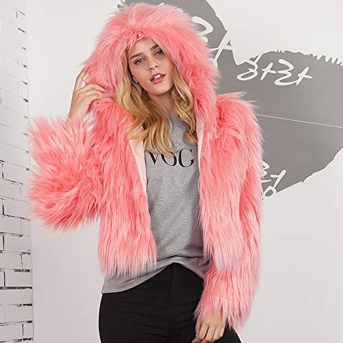 Fourrure URSING Fausse Pastque Femmes Jacket Veste Mode Dames Outerwear Confortable Rouge Coat Manteau Chaud en Capuche Parka Solide Survtement d'hiver Couleur Unie Dcontracte 1wXYXrqx