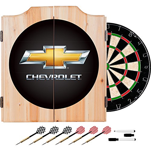 Chevrolet Design Deluxe Solid Wood Cabinet Complete Dart Set by TMG