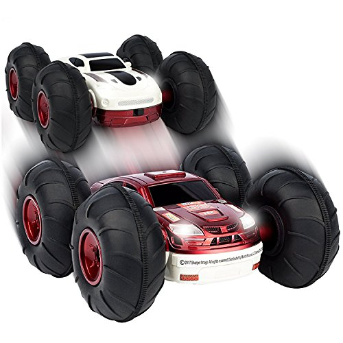 Sharper Image 2-in-1 RC Flip Stunt Rally Car with Remote Controller for Children/Adults, 360' Rotating Double-Sided Vehicle, 49MHz, Battery Operated Toy (not included), Red/White