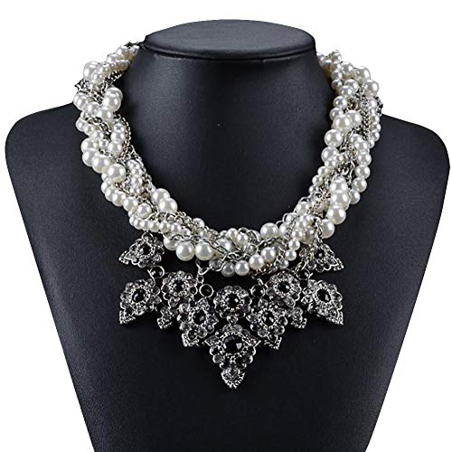 Geometric Pattern Simulated Pearl Necklace Cluster Choker Beads Chain For Women ()