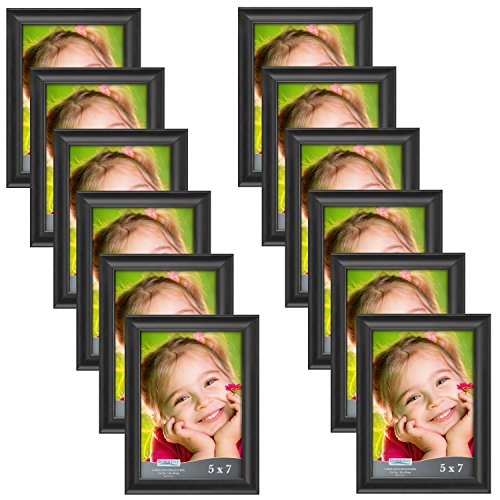 Icona Bay 5x7 Picture Frame (12 Pack, Black), Black Photo Frame 5 x 7, Composite Wood Frame for Walls or Tables, Set of 12 Lakeland Collection (Wholesale Picture Frames)