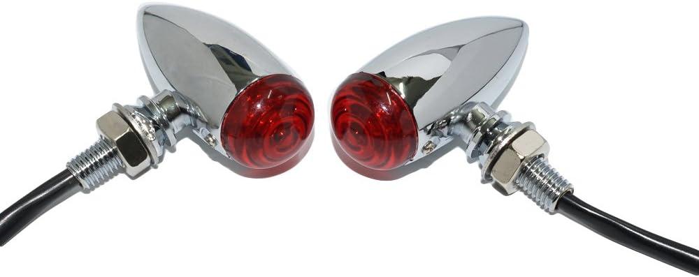 Mini Rectangular Turn Signals Lights 37mm Stem 12 Volt Chrome Neon
