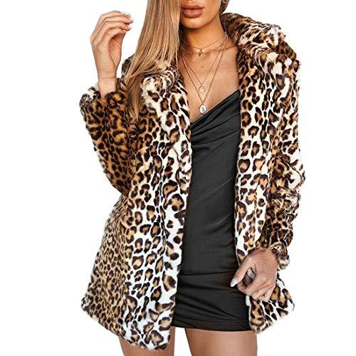 Women Warm Long Sleeve Parka Faux Fur Coat Overcoat Fluffy Top Jacket(Leopard,2) (Zara Parka Jacket Women)