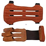 target shooting gloves - Toparchery Leather Protective Gear Arm Guard 2 Straps Hunting Target with Three Finger Gloves Tab Shooting Practice