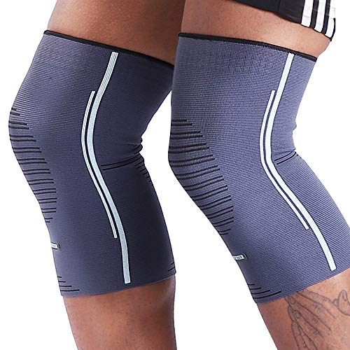 BERTER Knee Compression Sleeve Support for Running, Jogging, Sports – Brace for Joint Pain Relief, Arthritis and Injury Recovery – A Pair (Grey-Blue, X-Large(19.5-22.0″))