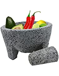 """TLP Molcajete authentic Handmade Mexican Mortar and Pestle 8.5"""""""