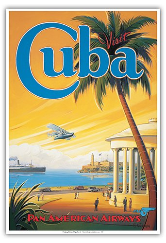 Visit Cuba - Pan American Airways (PAA) - Havana Bay - Morro Cabana - Vintage Style Airline Travel Poster by Kerne Erickson - Master Art Print - 13 x 19in ()