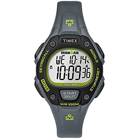 Timex Women's TW5M14000 Ironman Classic 30 Mid-Size Gray/Lime Resin Strap Watch - Chrono Classic Ladies Watch