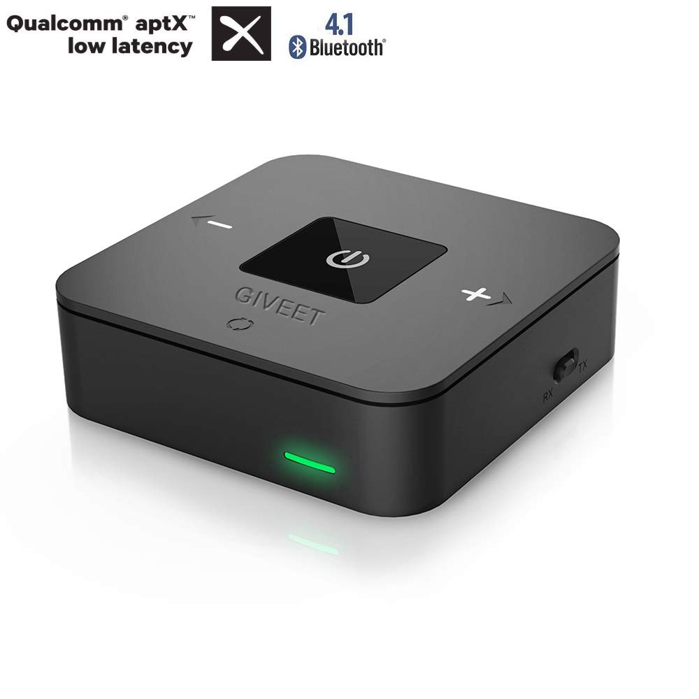 Giveet 2-in-1 Bluetooth V4.1 Transmitter Receiver, Digital Optical Toslink and 3.5mm Wireless Audio Adapter for TV Headphones Speaker, Home Car Stereo System, Certified aptX Low Latency JGZH BTI-029