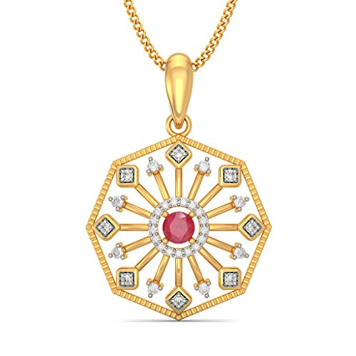 Or jaune 18K 0.16CT TW Round-cut-diamond (IJ | SI) et rubis Pendentif