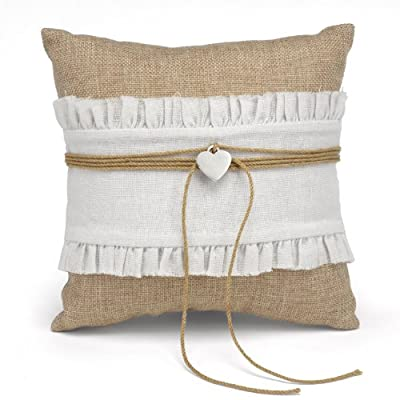 Hortense B. Hewitt Rustic Romance Wedding Accessories, Ring Pillow - Rustic Romance is captured in this pillow that lets your ring bearer carry the wedding rings down the aisle in style Natural burlap pillow with white gathered cloth band, twine and silver-tone heart charm Pillow is 8 Inch square and has a ribbon to tie rings in place - living-room-soft-furnishings, living-room, decorative-pillows - 51VAiTd5SIL. SS400  -