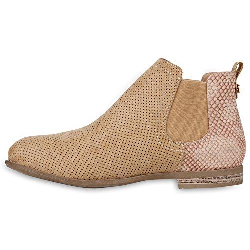 Stiefelparadies Damen Stiefeletten Chelsea Boots mit Blockabsatz Holzoptikabsatz Flandell Hellbraun Kroko
