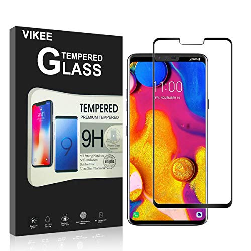[ 2-Pack ] LG V40 ThinQ Screen Protector, VIKEE 3D Full Coverage[Edge to Edge Crash Protection][Scratch-Proof][3D Touch] [Bubble-Free] 9H Hardness Tempered Glass Film for LG V40 ThinQ?Black?