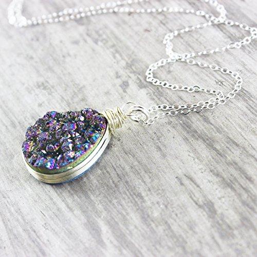 Rainbow Druzy Teardrop Sterling Silver Necklace - 18