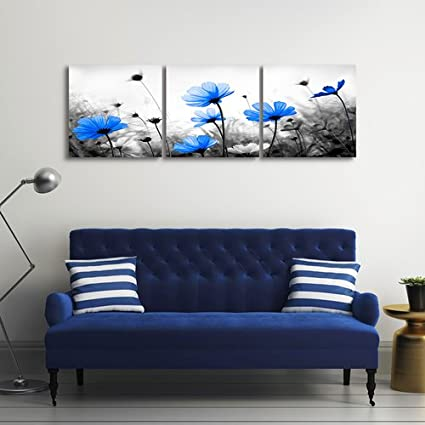 Amazon.com: Black and White Wall Art, Three Piece Canvas Prints ...