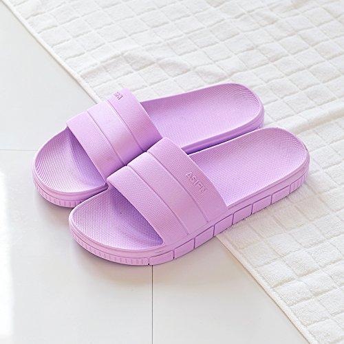 femenino masculinas zapatillas antideslizante de de Verano El cool zapatillas DogHaccd verano cuarto baño Zapatillas El home plástico grueso interior parejas baño de Morado1 gqO0waXC