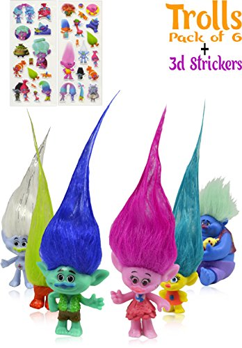 Set of 6 Trolls Action Figures Wild Hair|3-inches tall| 3D Stickers| Poppy, Branch, Biggie, Fuzzbert, DJ Suki and Guy Diamond|Treasure trolls| Best Gift for Kids|Cake Toppers By Alpha-One Sellers (Halloween 1 Film Trailer)