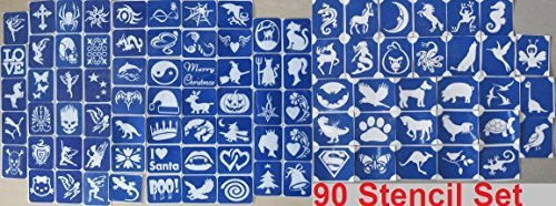 90 X Stencil Packs (One Use) for Glitter Tattoos / Airbrush / Cakes / Henna - Children Kids Parties, Fund Raising, Community Events, Pta, Charity