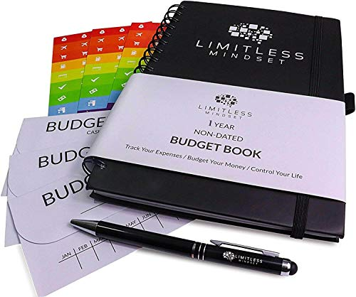 Bill Sticker - Budget Planner (Non-Dated), Finance Journal, Expense Tracker, Accounts Book, and Bill Organizer - Monthly Budgeting Book Bundled with Cash Envelopes, Stickers, and a Pen - 9x6
