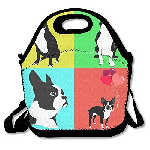 Cute Dogs Boston Terrier With Balloon Handy Portable Zipper Lunch Box Lunch Tote Lunch Tote Bags (Club Terrier)